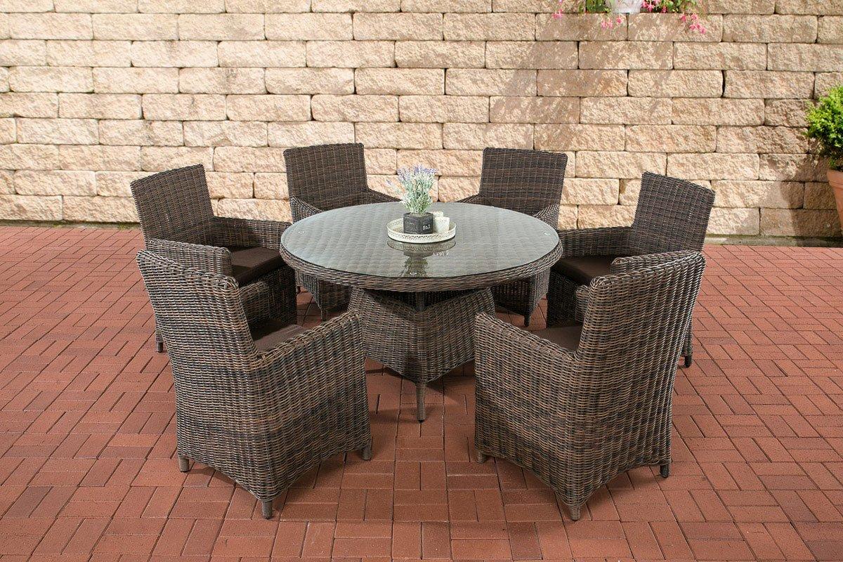 CLP Poly-Rattan Sitzgruppe LARINO braun-meliert (6 Sessel + Tisch 130x130 cm), Premiumqualität: 5mm Rund-Rattan braun-meliert, Bezugfarbe terrabraun