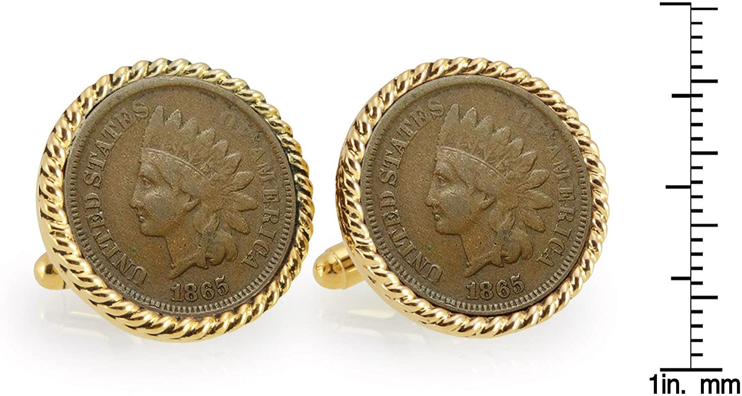 Civil War Indian Head Penny Goldtone Rope Bezel Coin Cuff Links Mens Cufflinks Over 100 Years Old United States Coins