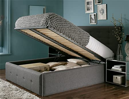 Mayfair Upholstered Ottoman Storage Bed   Double Ottoman Only   Slate  Textured Weave