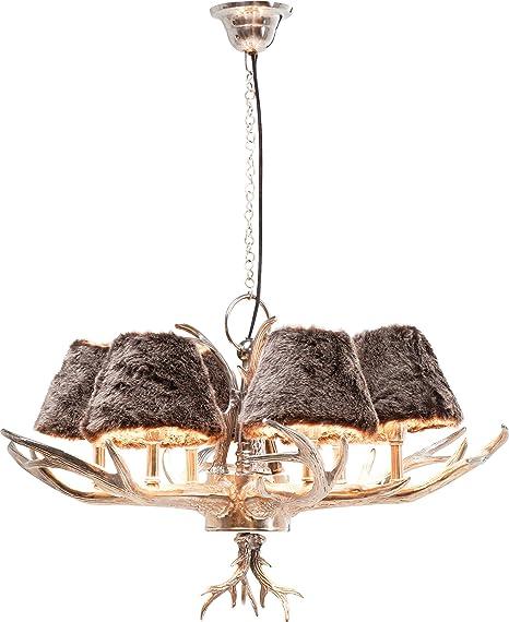 Kare Design Hangeleuchte Antler Huntsman Rustikale Lampe Mit Hirschgeweih Ausgefallene Lampenschirme Aus Kunstfell Design Kronleuchter Silber