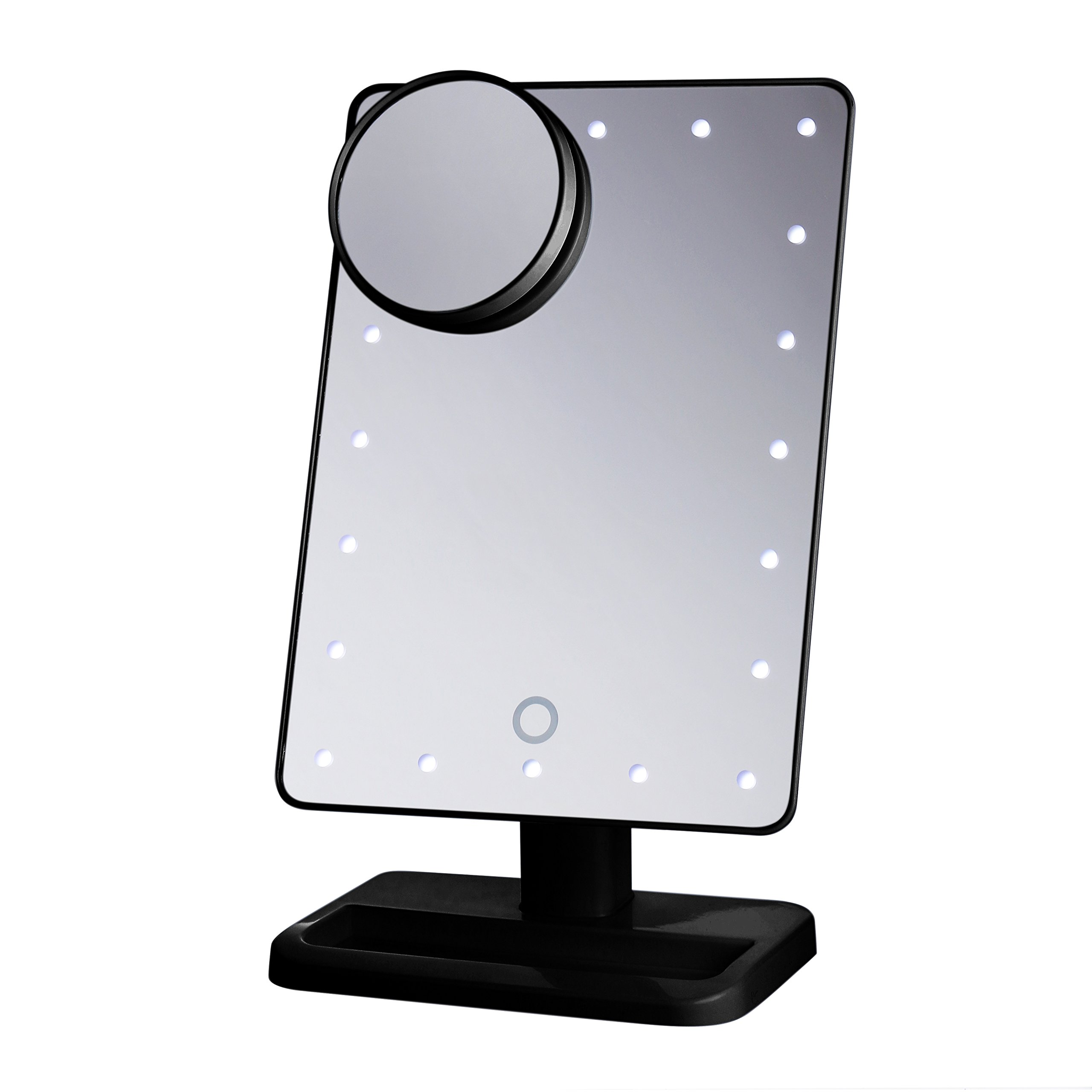 Beautify Beauties Lighted Makeup Mirror/Vanity Mirror, Touch Screen, Adjustable Brightness, Detachable 10X Magnification Spot Mirror, Batteries Included (Black)