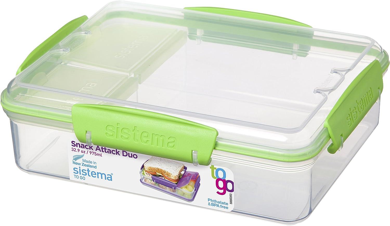 Sistema 3-Fach Geteilte Brotbox 975 ml Lunchbox 19,7 x 15,8 x 6 cm Vesperbox LxBxH Blau