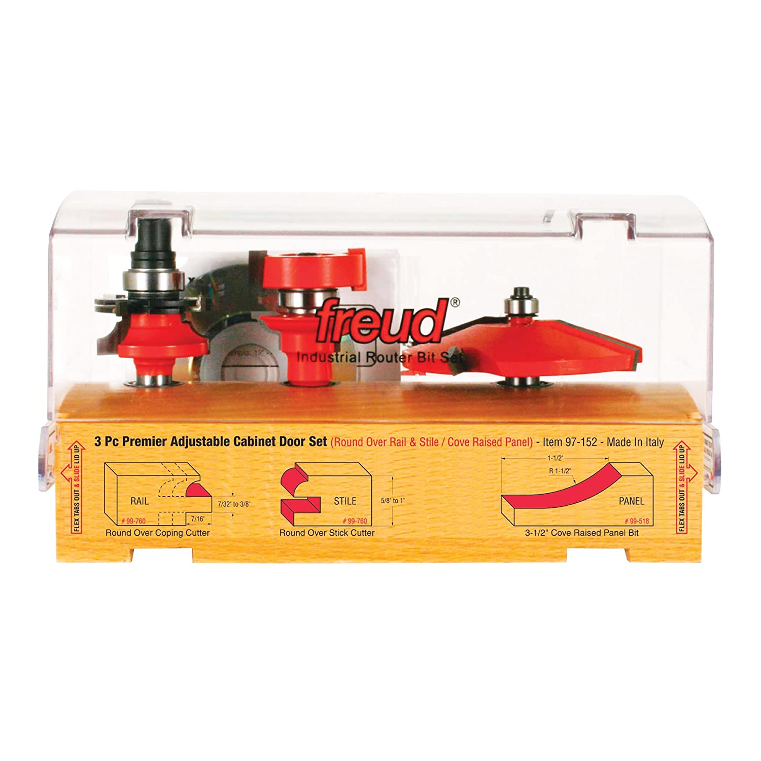 Freud 97-152 3 Piece Door Router Bit Set with Premier 99-760 Rail and Stile System and 99-518 Raised Panel - Door And Window Router Bits - Amazon.com