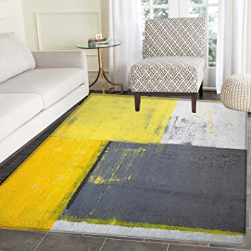 Amazon Com Grey And Yellow Print Area Rug Street Art Modern Grunge Abstract Design Squares Indoor Outdoor Area Rug 5 X6 White Charcoal Grey And Pale Yellow Furniture Decor