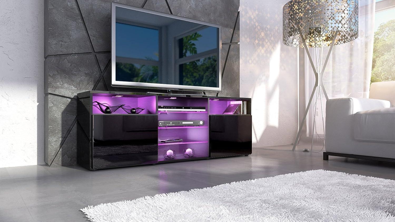 Meuble Tv Bas Granada Corps En Noir En Haute Brillance Fa Ades  # Meuble Tv Violet