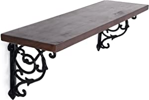 MyGift 24-Inch Victorian Style Floating Shelf with Decorative Cast Iron Brackets