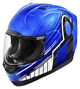 Icon Alliance Overlord - Casco de moto, color azul y negro
