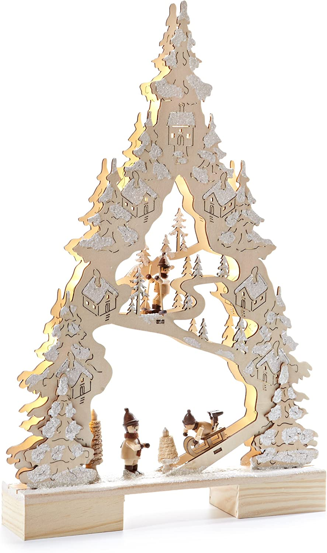 Heitmann Deco LED-Stimmungsleuchter aus Holz beleuchtete Weihnachtsdeko Lichterbogen f/ür innen Winterlandschaft natur//wei/ß