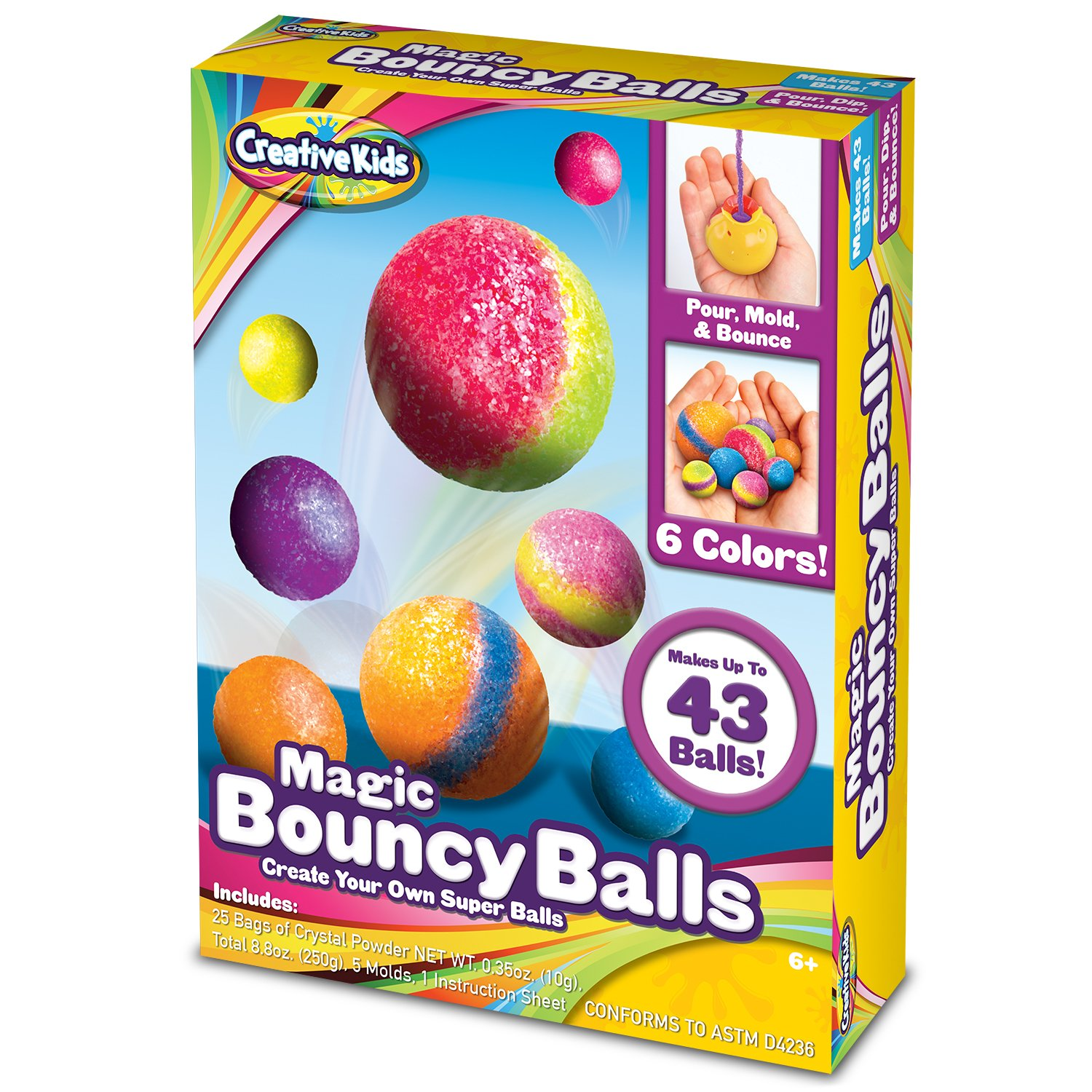 Glitter Make Your Own Bouncy Balls Illustrated Instructions and more DIY Super Bouncy Balls Kit Age 6-12 Molds Crystal Power Craft Kits for Kids w//Multi-colored and Glow in the Dark Powders