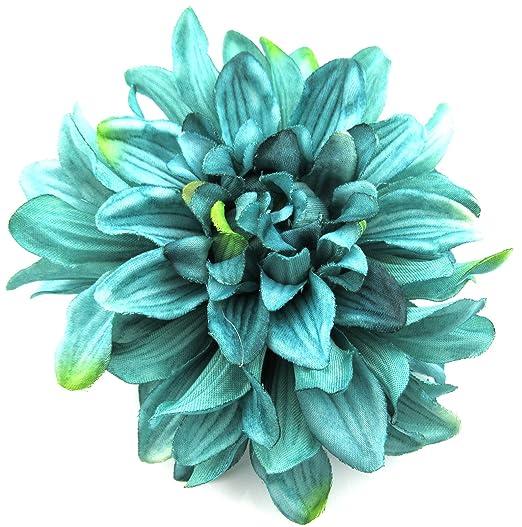 Amazon 45 teal green dahlia silk flower brooch pin clothing 45quot teal green dahlia silk flower brooch pin mightylinksfo