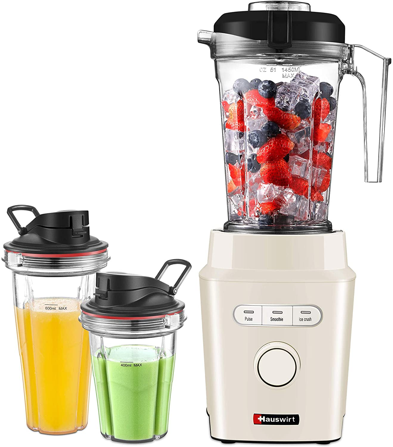 Hauswirt 1200W High Speed Blender with 51 Oz Pitcher, 25 Oz, 16 Oz To-go Cups for Personal and Family Serving, Powerful Professional Countertop Kitchen Food Mixer For Ice Frozen Fruit Crushing, Nuts Butter, Shakes and Smoothies - Metal Body