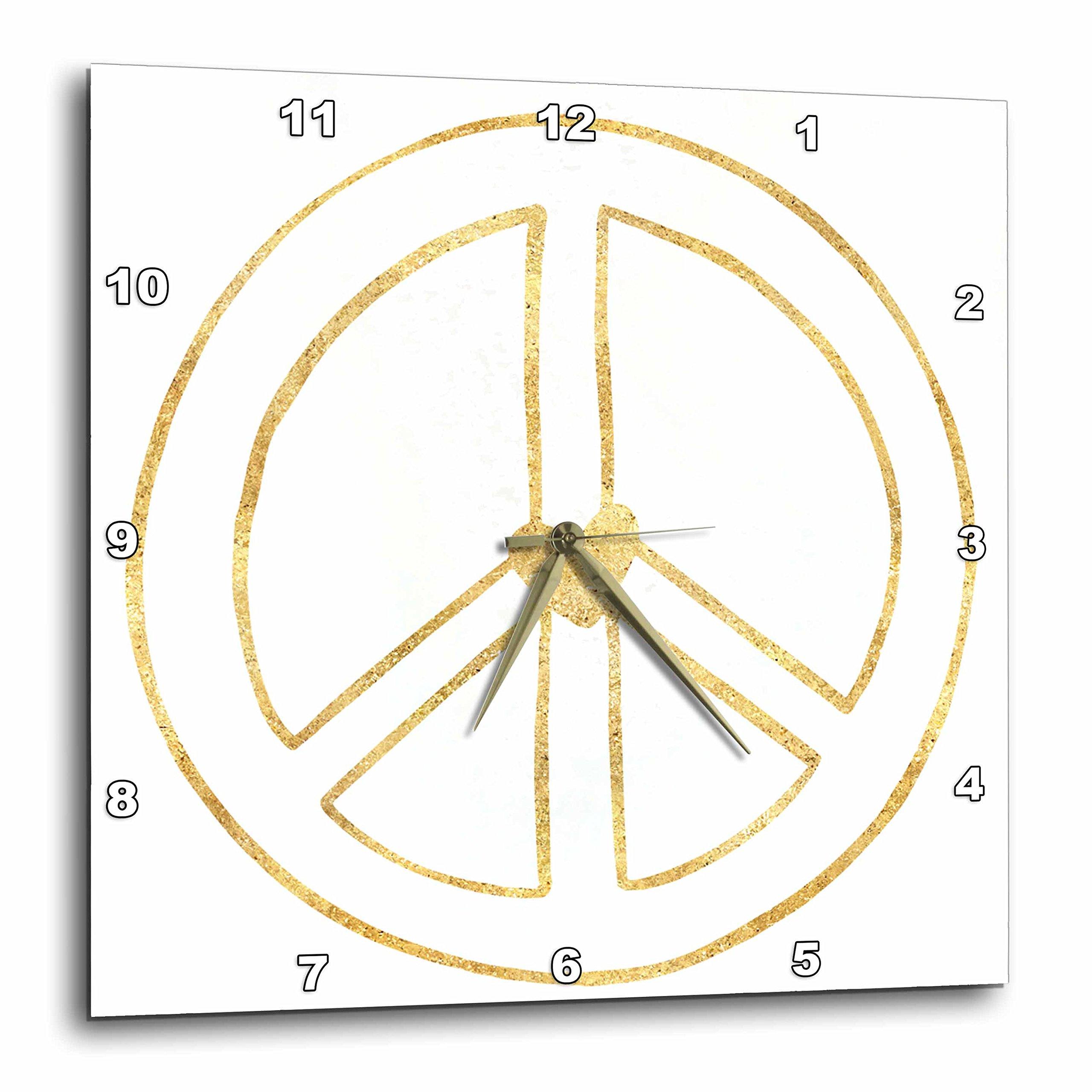 3dRose PS Inspiration - Gold Heart Hollow Peace Sign - 13x13 Wall Clock (dpp_280753_2)
