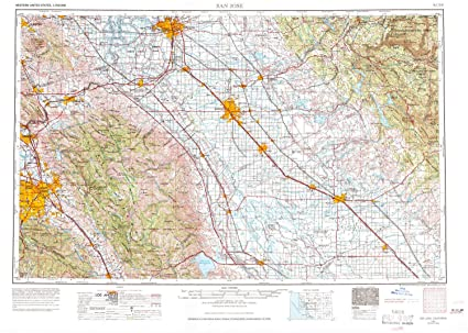 Amazon.com : YellowMaps San Jose CA topo map, 1:250000 Scale, 1 X 2 ...