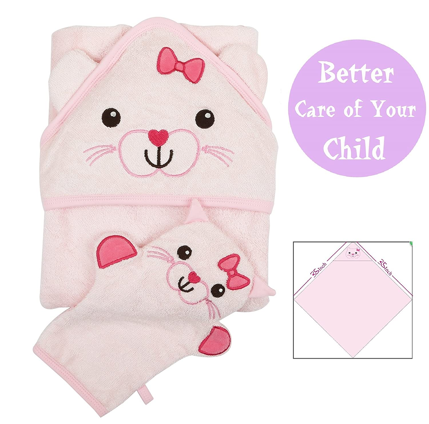 Joli Jodi Extra Soft Bamboo Hooded Baby Towel and Glove Washcloth (Pink)|Beach and Bath Towel |Antibacterial and Hypoallergenic| Highly Absorbent & Sized for Infant and Toddler(90*90 CM) | 500 GSM | Kitten Design Acadook Technology Inc