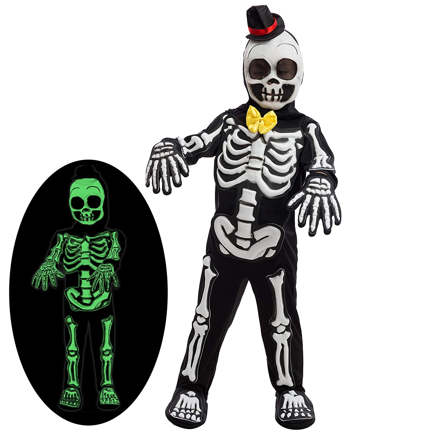 Spooky Skelebones Deluxe Skeleton Kids Toddler Costume Set Glow in The Dark Effect on Skull Halloween Dress Up Party Joyin Inc