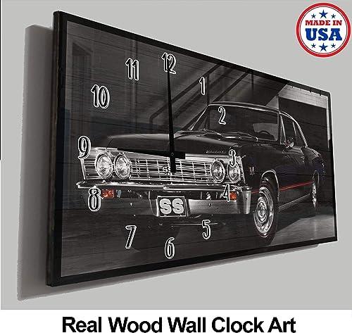 Pike Outdoors Vintage Car Wall Clock Black Classic Hot Rod Red Pinstripe Dark Garage Man Cave Wall Clock Wood Wall Decor