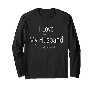 7bc57d2f3 Unisex I Love My Husband Play RacquetBall Funny Sports T Shirt Small Black