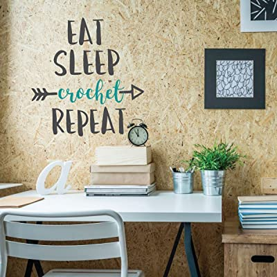 "Funny Wall Art -""Eat Sleep Crochet Repeat"" - Crafter Yarn Gift - Wall Decals for Home Decor, Bedroom, Playroom, Study, Craftroom: Handmade"