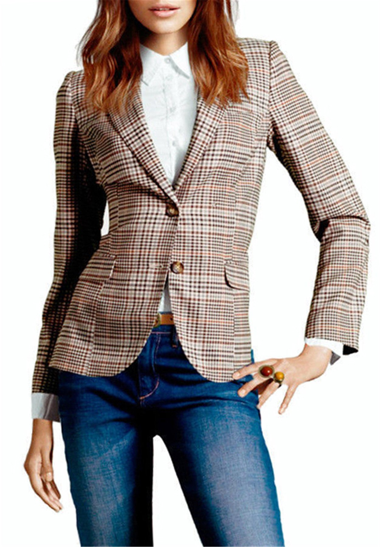 My Wonderful World Blazer Coat Jacket Mww Women Long Sleeves OL Business Plaid Formal Blazer US 6