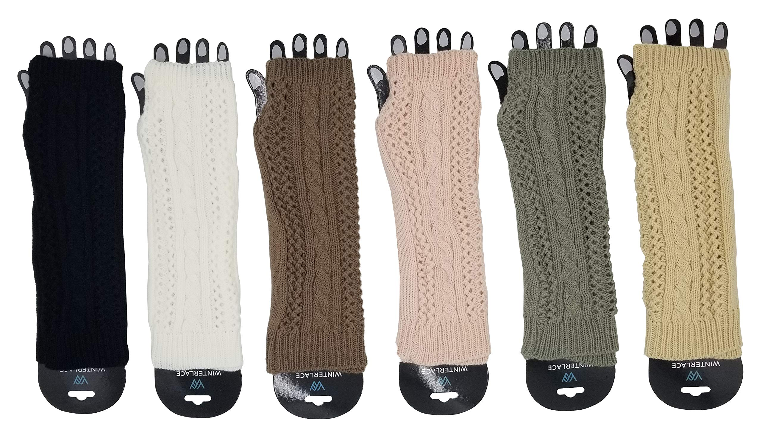 Arm Warmers, 6 Pairs for Women, Cable Knit Warm Winter Sleeve Fingerless Gloves, Premium Gift (Assorted A)