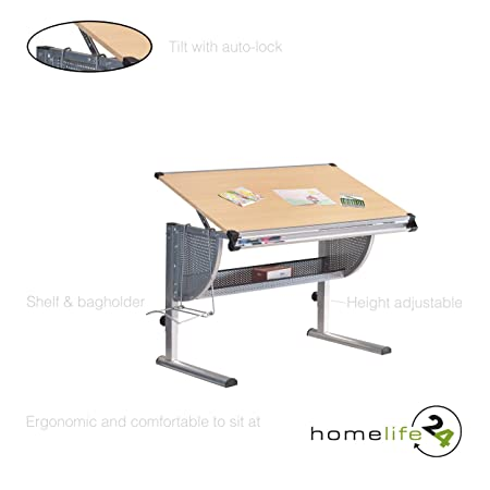520b1c6800ff6 H24living Desk Children Kids Drawing Board Writing Table Tiltable Tabletop  Height Adjustable Metal Bar with scale