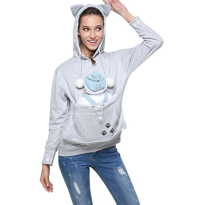 Gato Sudaderas con Capucha Mujer,Longra❤️Manga Larga y Bolsillo para Mascotas Suéter Encapuchado Capa Pullover,Outwear Camisetas,Entrenamiento Camisa ...