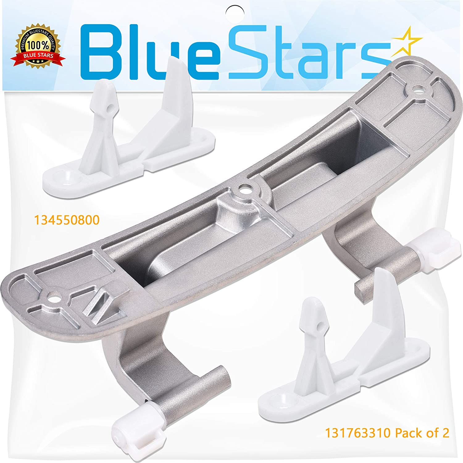 Ultra Durable 131763310 Washer Door Striker & 134550800 Washer Door Hinge with Bushings Kit Replacement by Blue Stars - Exact Fit for Frigidaire & Kenmore Washers