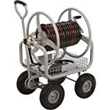 Commercial industrial heavy duty hose reel cart garden hose carts patio lawn for Strongway garden hose reel cart