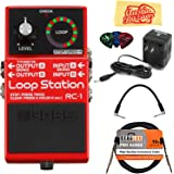 Boss RC-1 Loop Station Bundle with Power Supply, Instrument Cable, Patch Cable, Picks, and Austin Bazaar Polishing Cloth