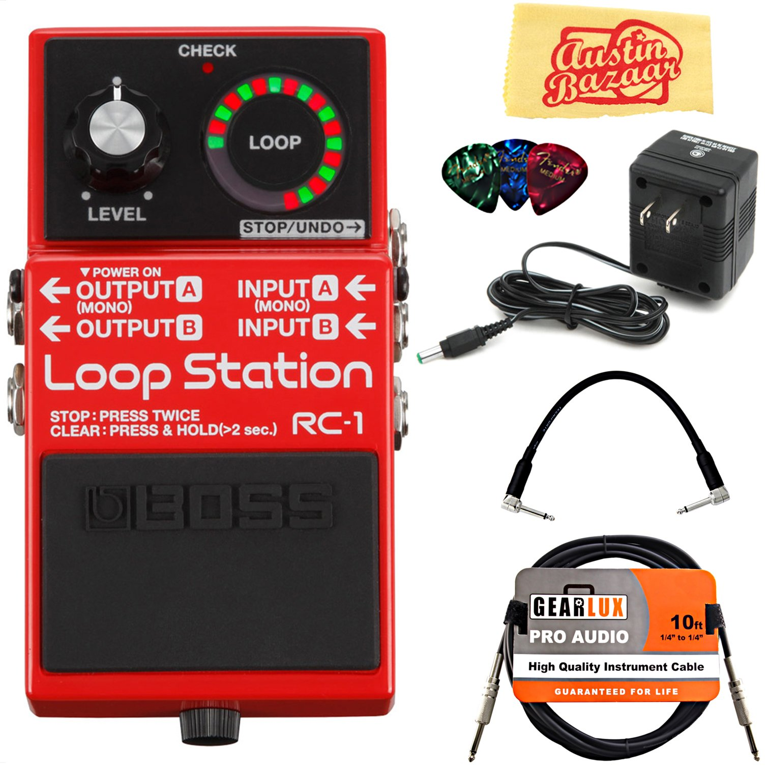 Boss RC-1 Loop Station Bundle with Power Supply, Instrument Cable, Patch Cable, Picks, and Austin Bazaar Polishing Cloth by BOSS (Image #1)