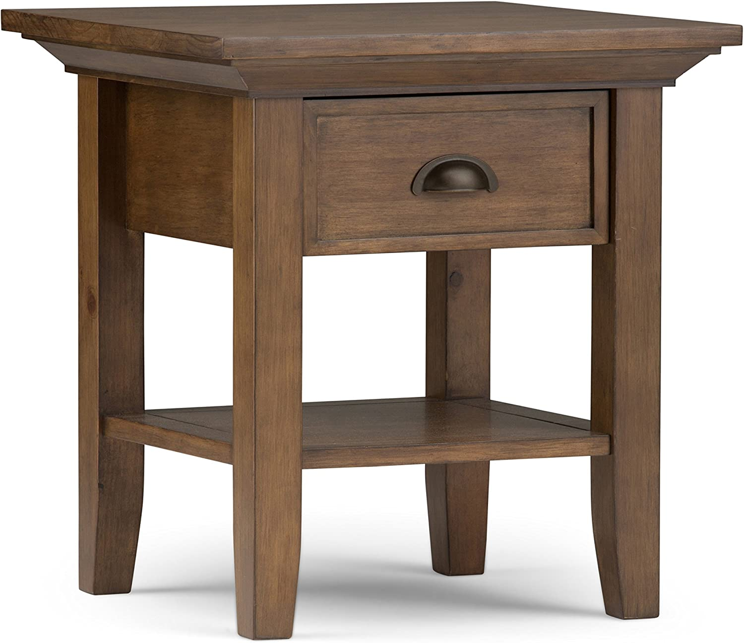 SIMPLIHOME Redmond SOLID WOOD 19 inch wide Square Rustic Contemporary End Side Table in Rustic Contemporary Natural Aged Brown with Storage, 1 Drawer and 1 Shelf, for the Living Room and Bedroom