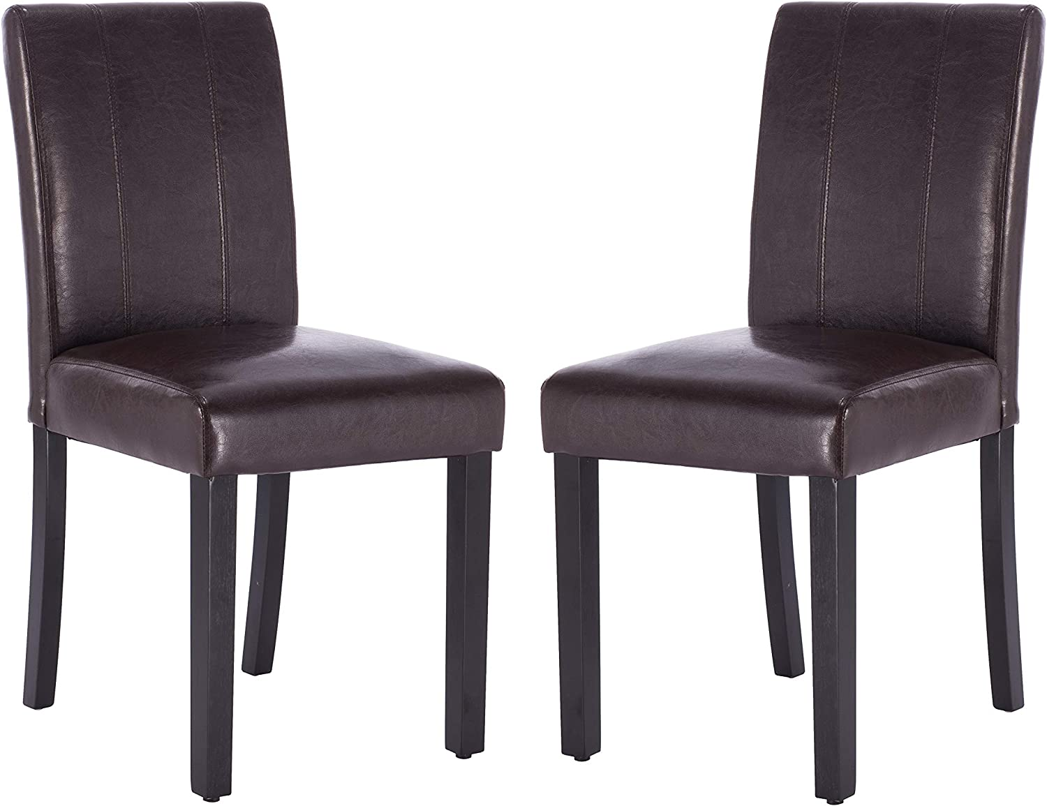 Per-Home Dining Chairs Set of 2 Solid Wood Leatherette Parson Chairs Black