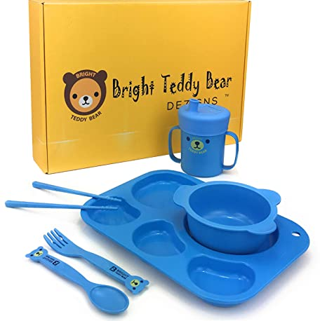 BRIGHT TEDDY BEAR Kids Dinnerware Set-Child's Section Plate Bowl Sippy Cup  & Lid Child Self Feeding Utensils 8 Piece Eco Friendly Made from