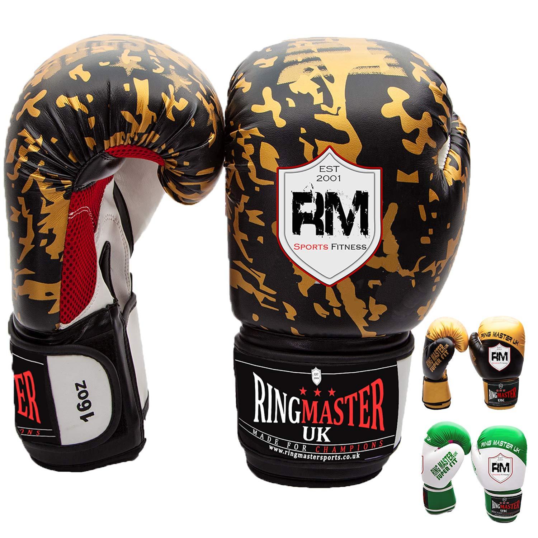 Gold, 14oz RingMasterUK Boxing Gloves Cobra Series Punch Bag Mitt Kick MMA Fight Training Sparring