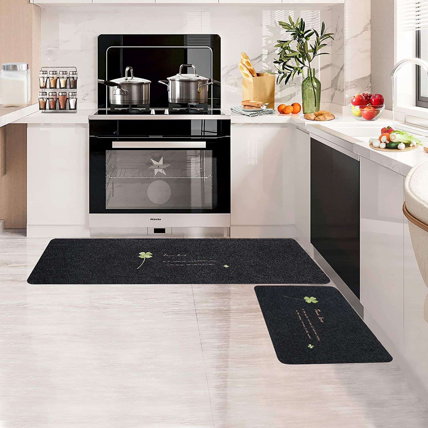 Kitchen Rugs Set 2 Pieces Cushioned Anti-Fatigue Kitchen Rug and Mat,Waterproof Non-Slip Washable,Ergonomic Comfort Foam Rug for Kitchen, Floor Home, Office, Sink, Laundry (Green)