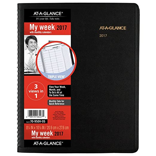 AT-A-GLANCE Weekly / Monthly Appointment Book / Planner 2017, Triple-View, 8-1/4 x 10-7/8