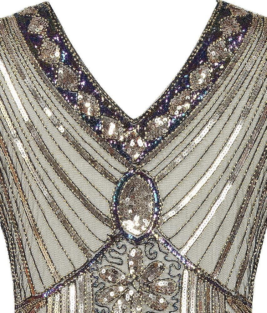 Kedera Womens Evening Dress 1920s Sequin Art Deco Formal Maxi Long Formal Ball Gown