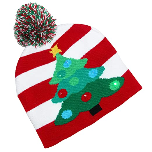 0f3acc1269941 Supervisor Lotsa Lites! Flashing Holiday Knitted Hat Light Up Beanie (Red    White)