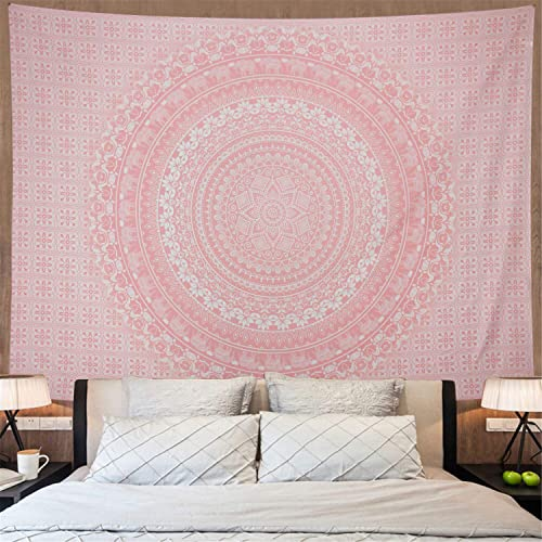 Amonercvita Tapestries Rose Gold Tapestry Pink Tapestry Wall Hanging Ombre Hippie Wall Tapestry Psychedelic Mandala Bohemian Tapestry Large Boho Tapestries for Bedroom Dorm Dec X-Large, Pink Mandala