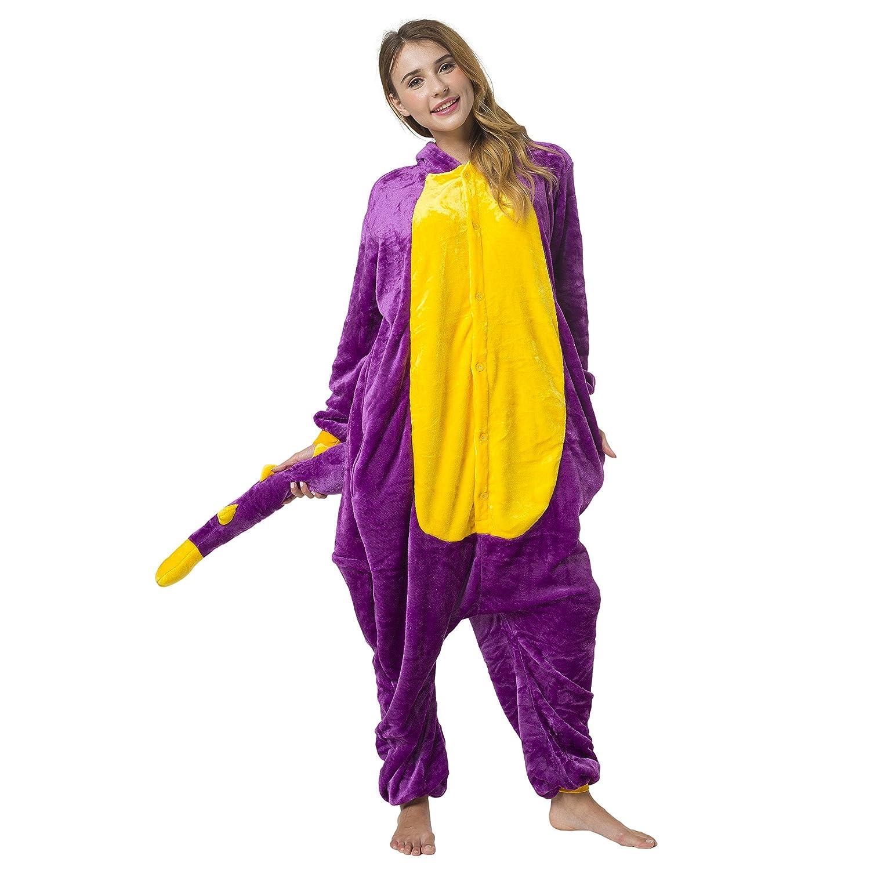 Katara 1744 - Kigurumi Pijamas Disfraz de Animal Traje de Noche con Capucha - Adultos Unisexo - Dinosaurio Rosa-Amarillo M: Amazon.es: Juguetes y juegos