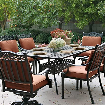 Tremendous Amazon Com Darlee Charleston 7 Piece Cast Aluminum Patio Interior Design Ideas Inesswwsoteloinfo