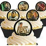 Lot de 12 mini-disques Star Wars Comestibles PRÉ-DÉCOUPÉES par Cakeshop
