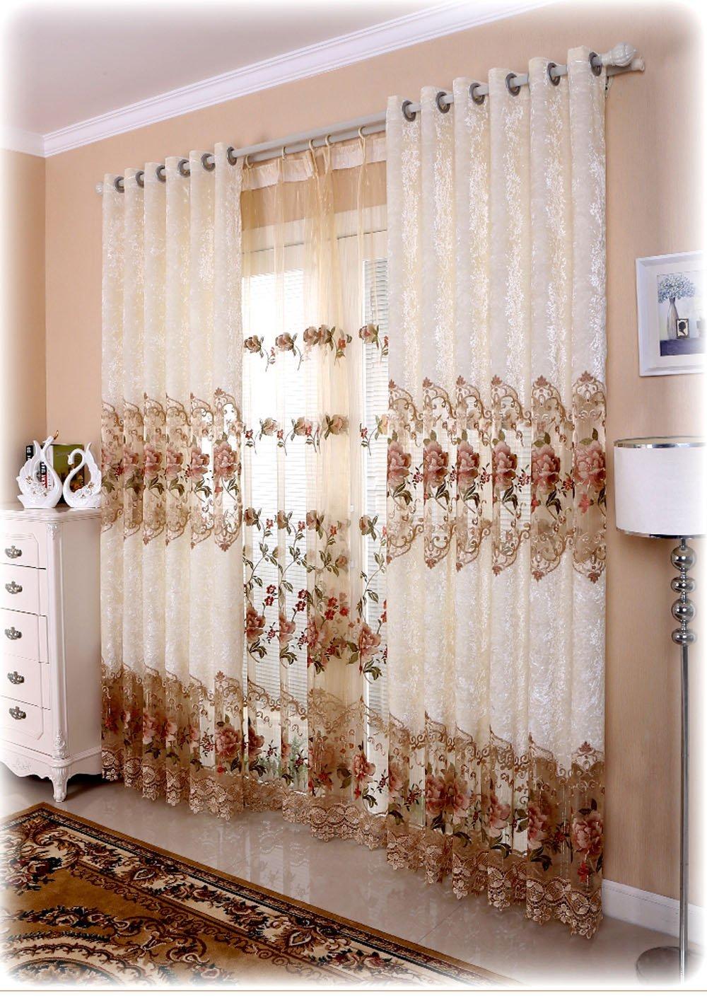 Amazoncom Shunshan Luxury Window Curtains For Living Room Set Of