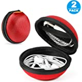 2 Packs GLCON Hard Earphone Case Headphone Organizer - Shockproof Mini Earbud Carrying Case for AirPods - High Protection Small EVA Storage Pouch Bluetooth Earpiece Bag - Lightweight Coin Purse (Red)