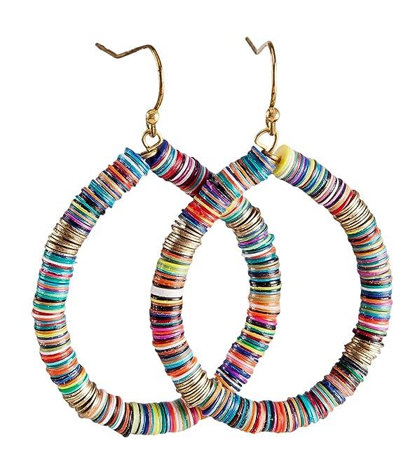 9e6cf70e3f900 Bohemian Multi-Colored Sequin Hoop Gold Earrings - SPUNKYsoul Collection