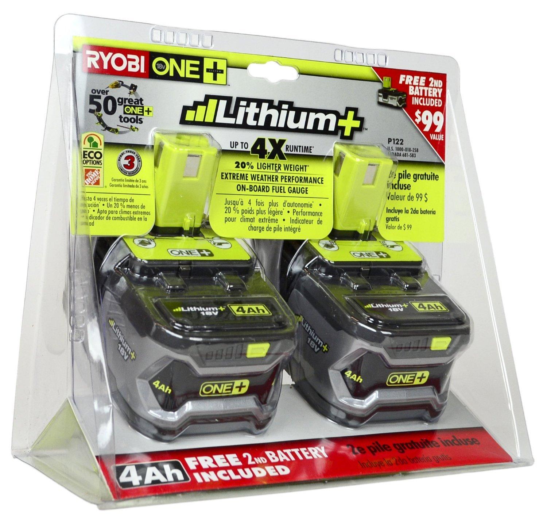 Ryobi P122 4AH One+ High Capacity Lithium Ion Batteries For Ryobi Power Tools (2 Pack of P108 Batteries) (Certified Refurbished)