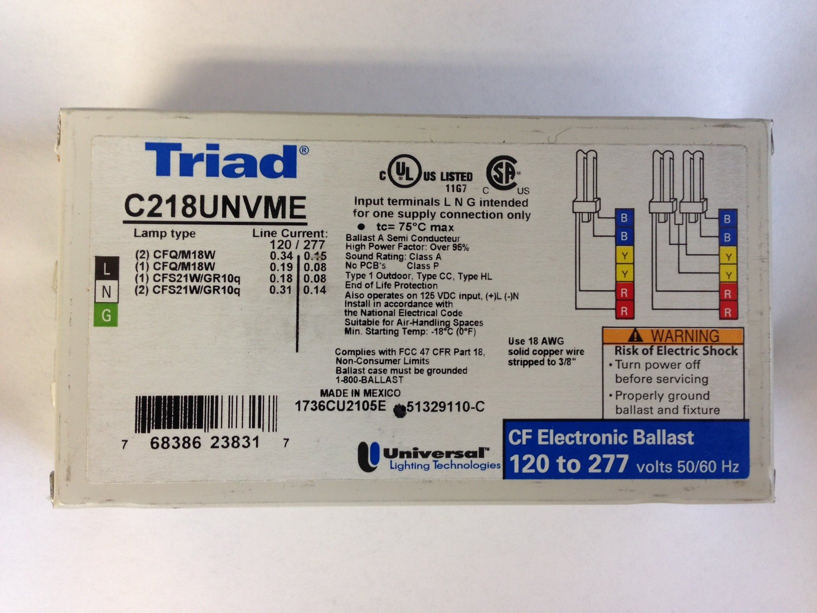 20 PIECES UNIVERSAL TRIAD C218UNVME 120-277V ELECTRONIC BALLAST FOR 2 CFQ/TR18W LAMP