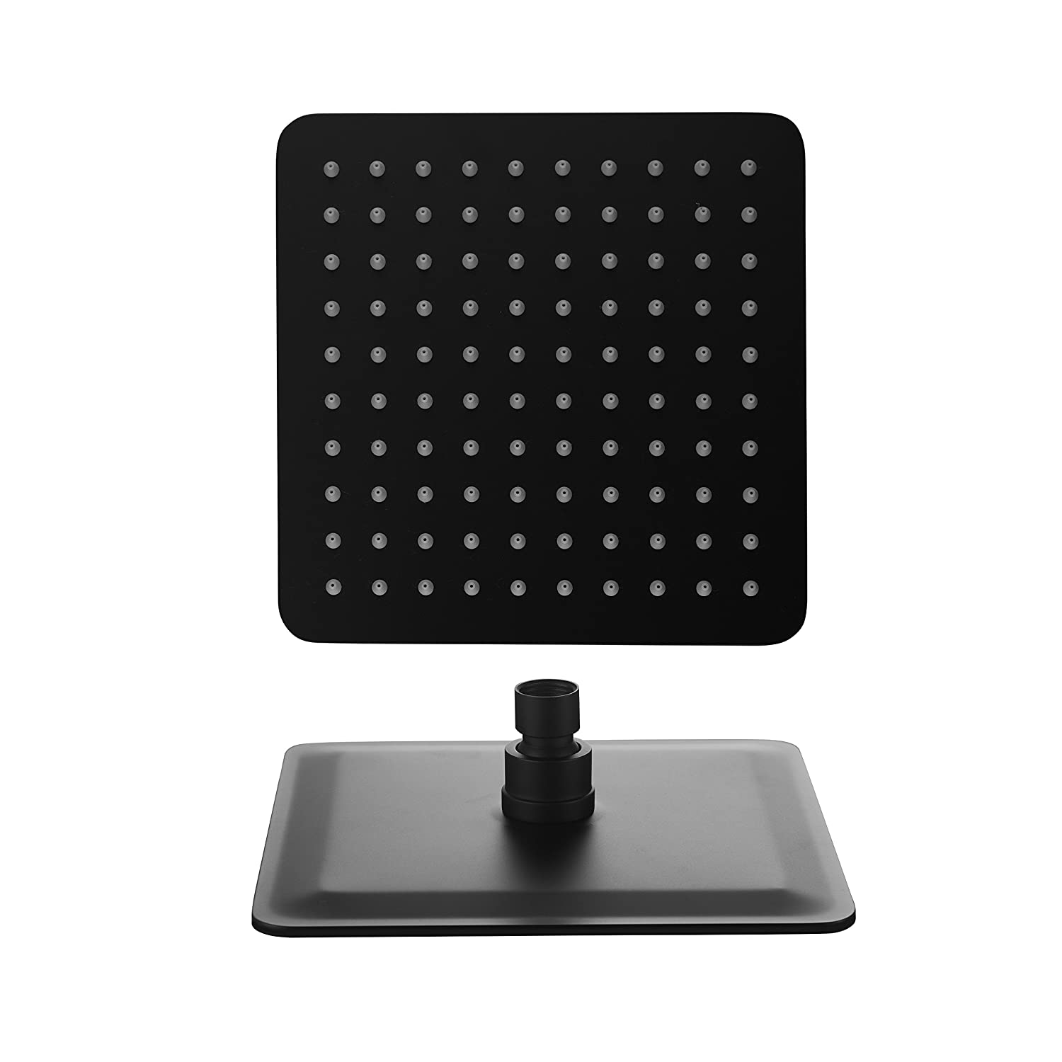 Ownace 8-inch Rainfall Shower Head Square Fixed Wall Mount Solid Stainless Steel Black Color