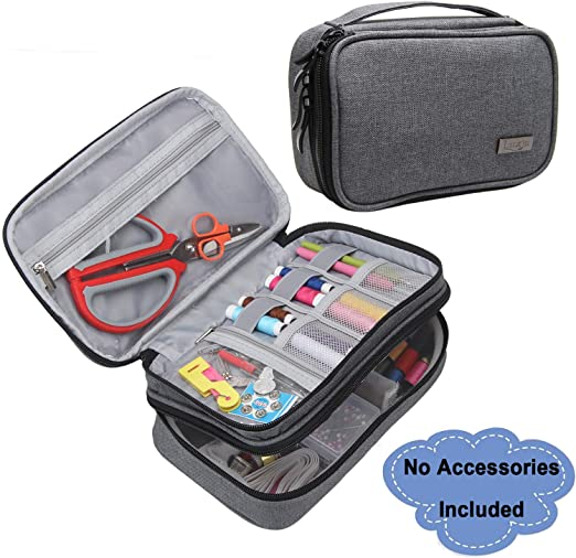 Scissors Measuring Tape Luxja Sewing Accessories Organiser Double-Layer Sewing Supplies Organiser for Needles NO ACCESSORIES INCLUDED Thread and Other Sewing Tools Large//Grey