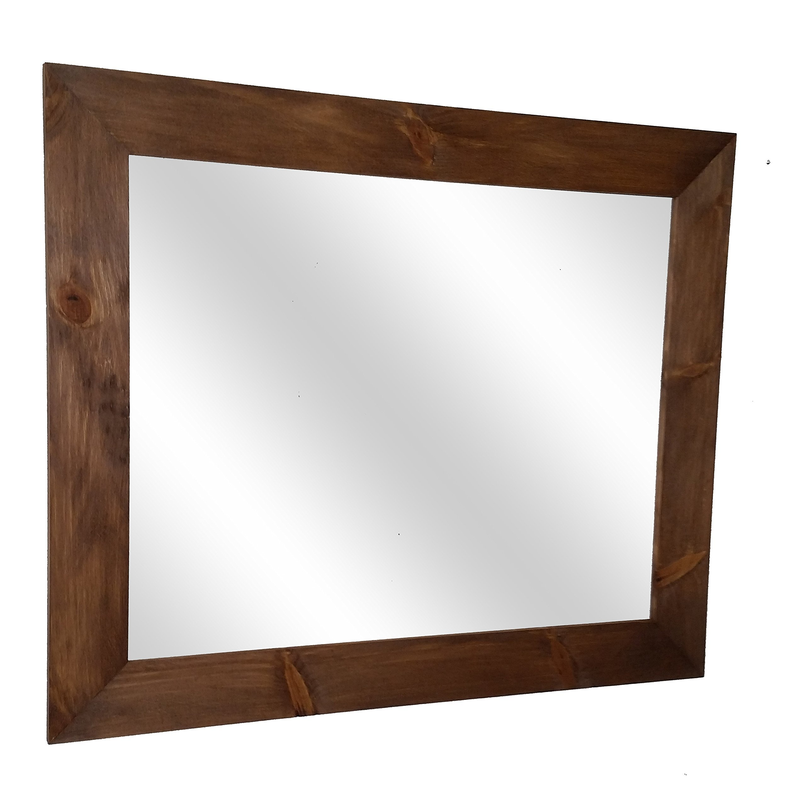 Shiplap Mirror 36 x 30 Horizontal Early American Stain Reclaimed Wood Mirror - Large Wall Mirror - Rustic Modern Home - Home Decor - Mirror - Housewares - Woodwork - Frame by Renewed Decor